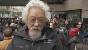 David Suzuki attends Vancouver anti-pipeline rally
